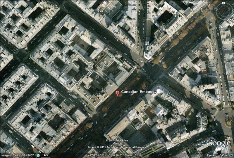 Les ambassades étrangères en France vues depuis Google Earth Canada11