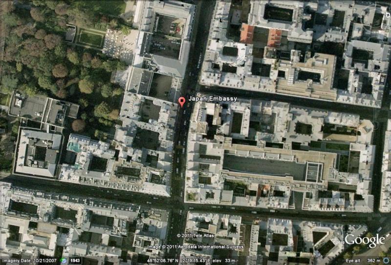 Les ambassades étrangères en France vues depuis Google Earth Japon_11