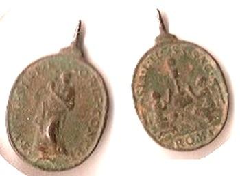 Médaille à la Vierge et aux 2 anges représentant le Saint-Sacrement - XVIIème Philou10