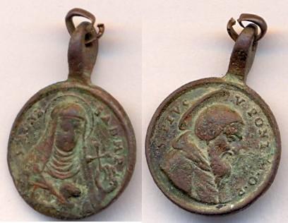 Médaille PIE V et Ste-Agnès Abbesse de Montepulciano - XVII / XVIIIème Scann128