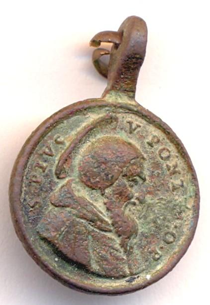 Médaille PIE V et Ste-Agnès Abbesse de Montepulciano - XVII / XVIIIème Scann133