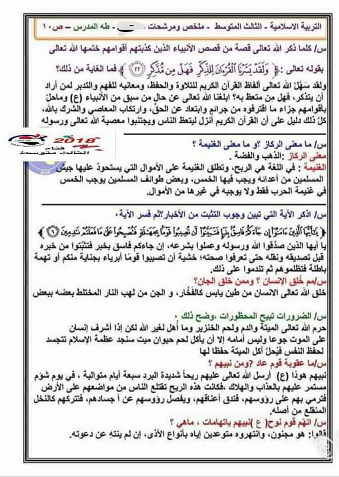 مرشحات الاسلامية العامة للثالث المتوسط 2018 1015