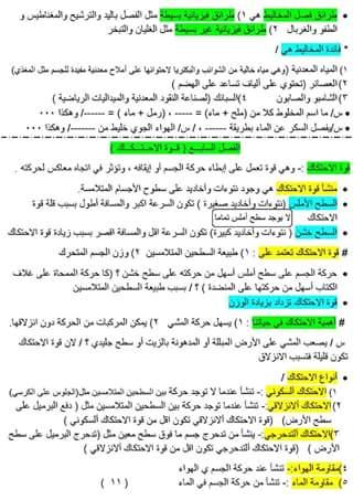 ملخص مادة العلوم للصف الخامس الابتدائى  1116