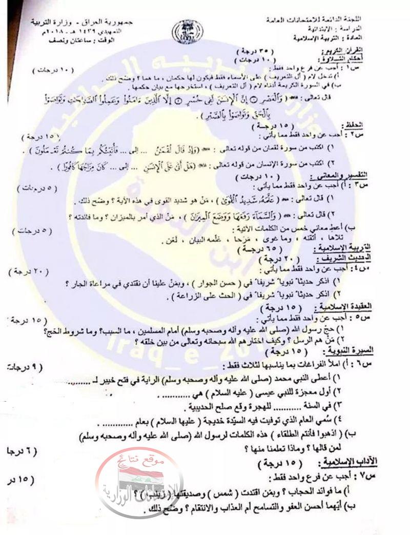 أسئلة الامتحان التمهيدى للتربية الاسلامية للسادس الابتدائى 2018 121