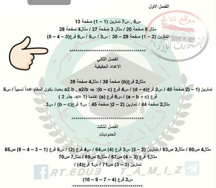 مرشحات رياضيات للثالث المتوسط 2018 تمهيدى ووزارى  124