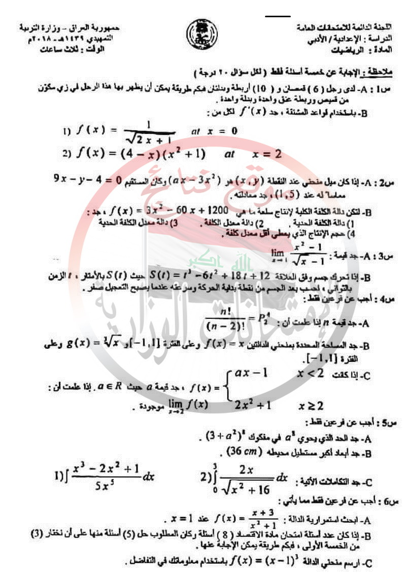 الامتحان التمهيدى للرياضيات للصف السادس الأدبى 2018 133
