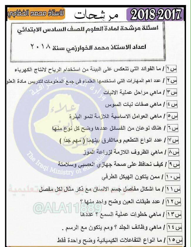 أحدث مرشحات منهج العلوم الجديد 2019 للصف السادس الابتدائى لمحمد الخفاجى 169