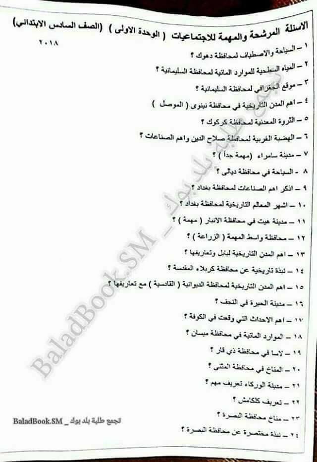 أحدث مرشحات الاجتماعيات للصف السادس الابتدائى 2018 للاستاذ محمد الخفاجى  171