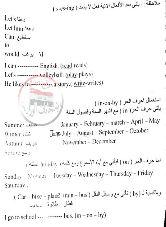 مراجعة ليلة الامتحان فى اللغة الانكليزية للصف السادس الابتدائى 2018 176