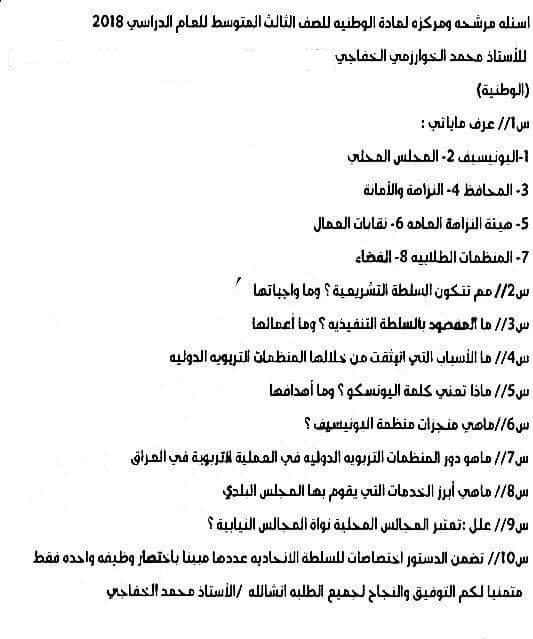 مرشحات الاجتماعيات للصف الثالث متوسط 2018 لمحمد الخفاجى 187