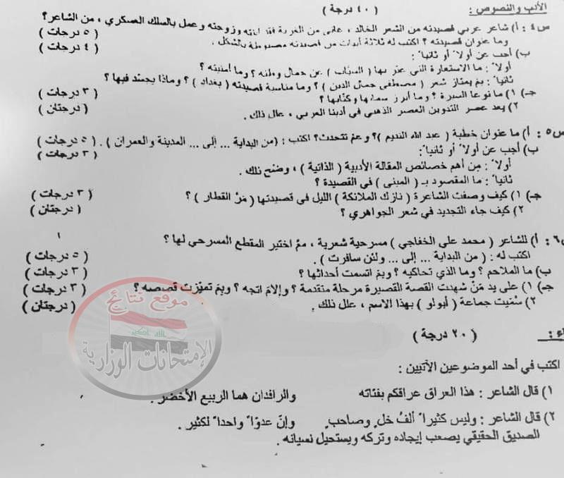أسئلة الامتحان التمهيدى للغة العربية للسادس الاعدادى العلمى 2018 219