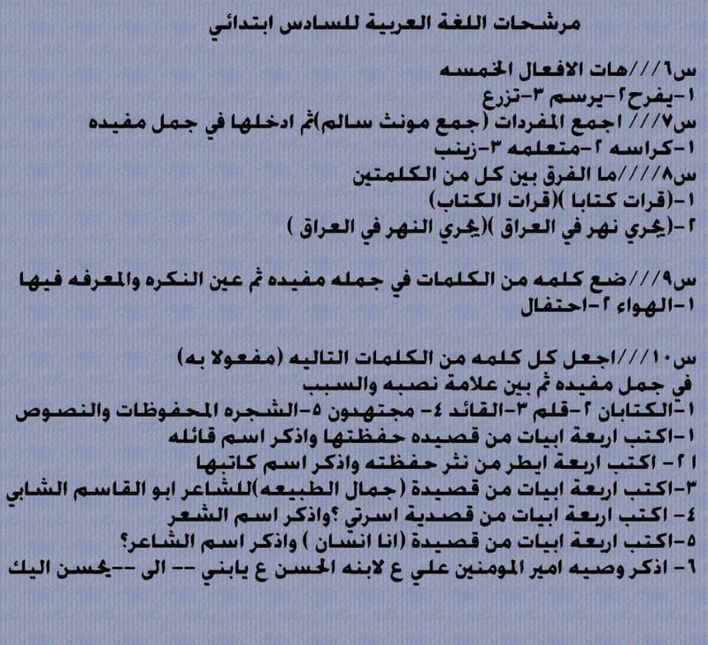 مرشحات وتوقعات اللغة العربية للسادس الابتدائى 2019 الدور الاول 235