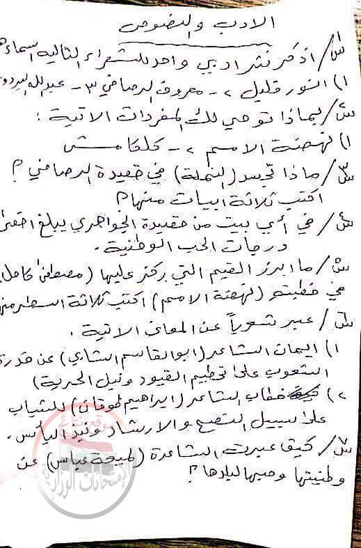 توقعات اللغة العربية الهامة للثالث المتوسط 2018 للمبدع محمد الخوارزمى  245