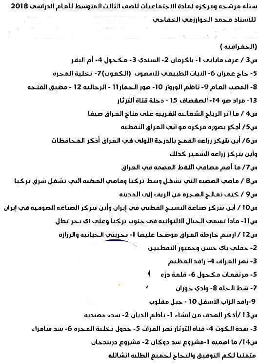 مرشحات الاجتماعيات للصف الثالث متوسط 2018 لمحمد الخفاجى 248