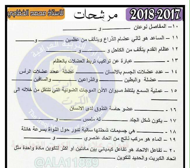أحدث مرشحات منهج العلوم الجديد 2019 للصف السادس الابتدائى لمحمد الخفاجى 325