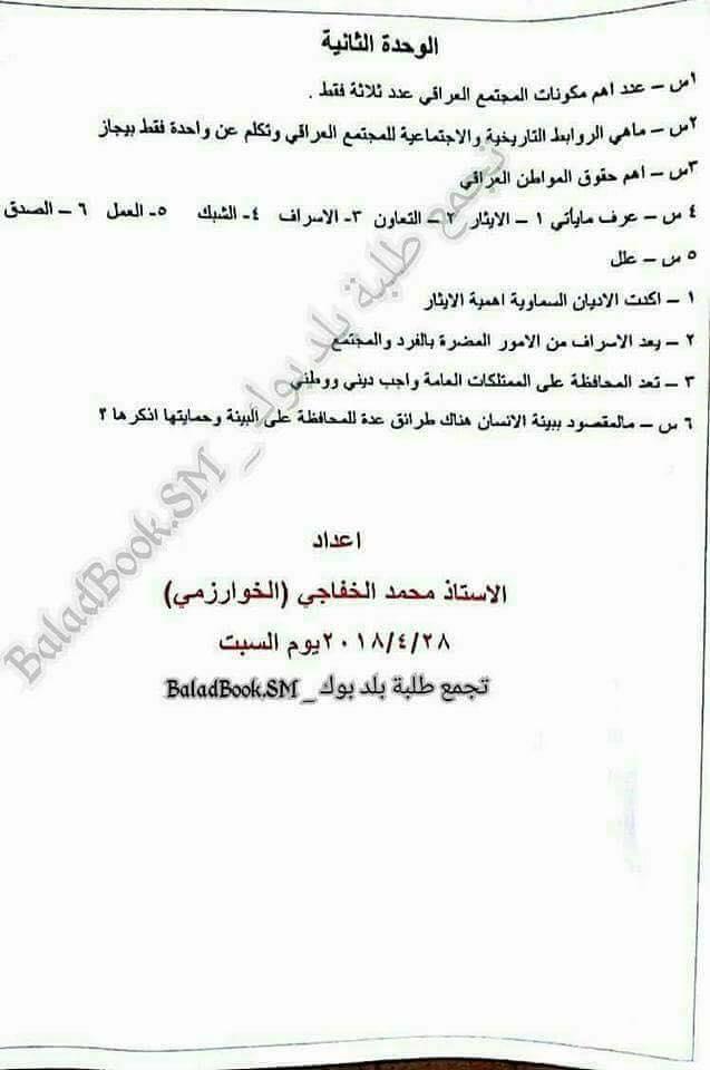 أحدث مرشحات الاجتماعيات للصف السادس الابتدائى 2018 للاستاذ محمد الخفاجى  327