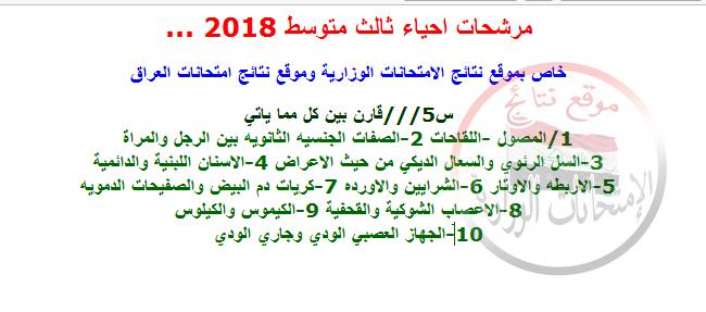 مرشحات ليلة الامتحان فى الأحياء للثالث متوسط 2018 412