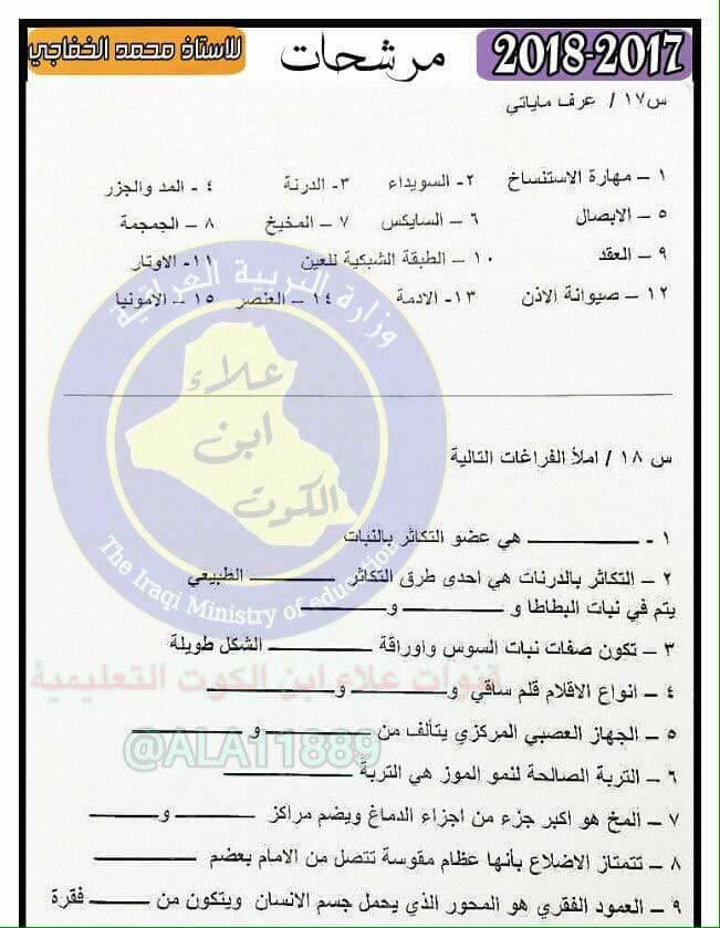 أحدث مرشحات منهج العلوم الجديد 2019 للصف السادس الابتدائى لمحمد الخفاجى 422
