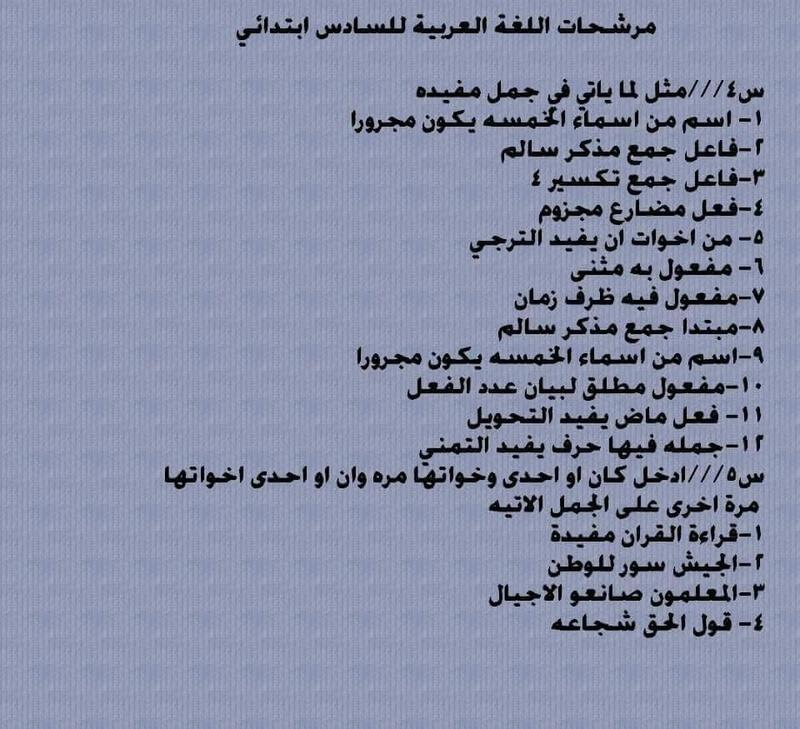 مرشحات الاستاذ محمد الخفاجى للغة العربية الصف السادس الابتدائى 2019 424