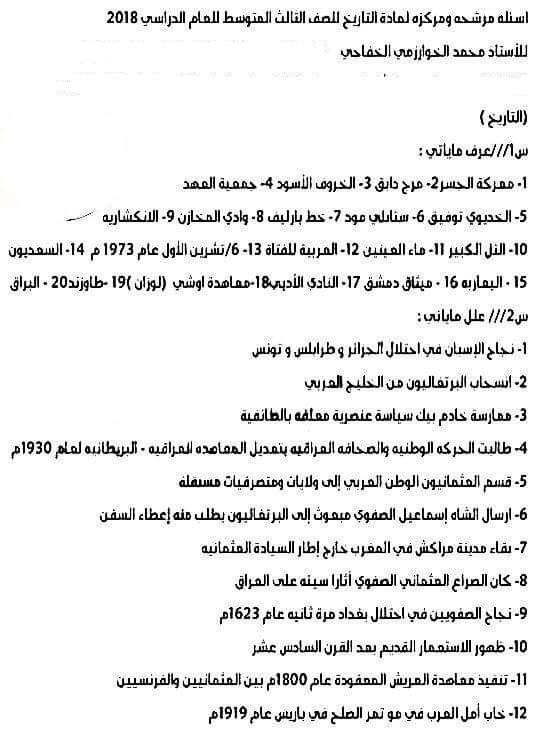 مرشحات الاجتماعيات للصف الثالث متوسط 2018 لمحمد الخفاجى 527