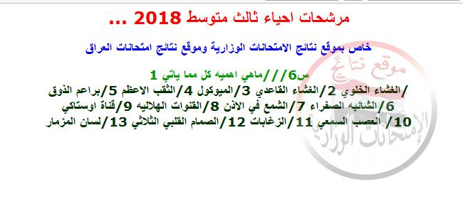 مرشحات ليلة الامتحان فى الأحياء للثالث متوسط 2018 611