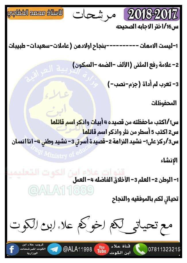 اسئلة مرشحة لمادة اللغة العربية للصف السادس الابتدائي 2018  617