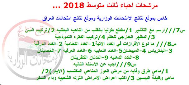 مرشحات ليلة الامتحان فى الأحياء للثالث متوسط 2018 711