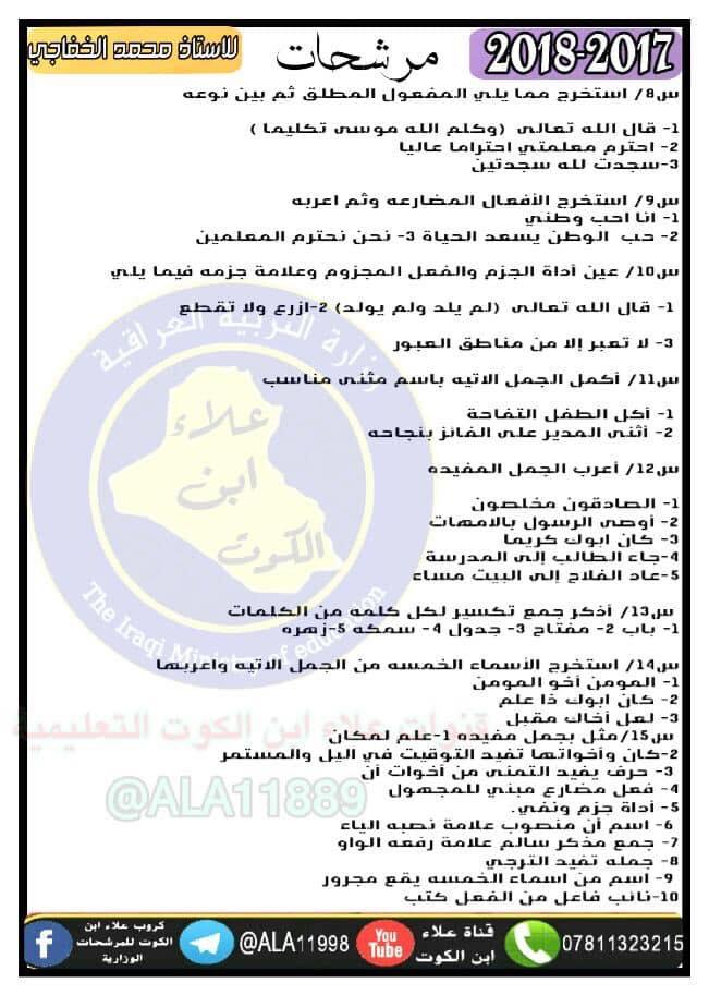 اسئلة مرشحة لمادة اللغة العربية للصف السادس الابتدائي 2018  713