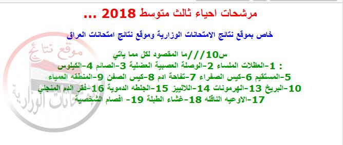 مرشحات ليلة الامتحان فى الأحياء للثالث متوسط 2018 811