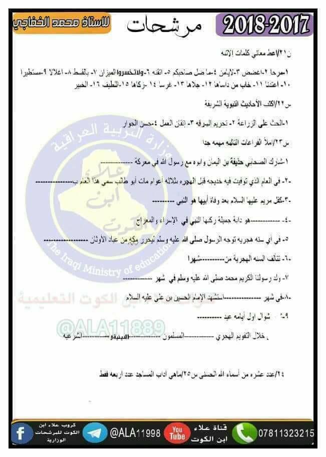 مرشحات التربية الاسلامية الهامة والشاملة 2019 للسادس الابتدائى للمبدع محمد الخفاجى  911