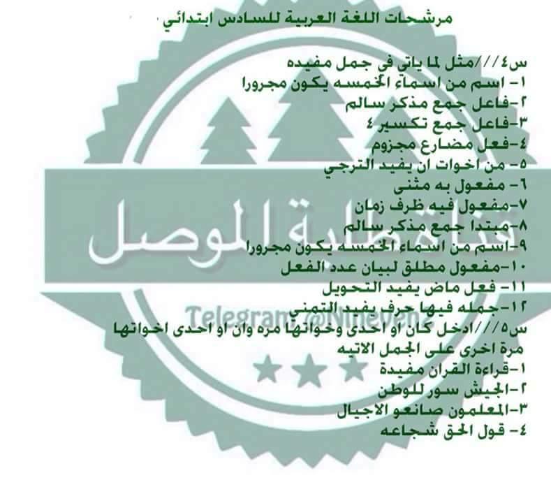 أسئلة ومرشحات مهمه جدا وشاملة لمادة اللغة العربية للصف السادس ابتدائي 2019 912