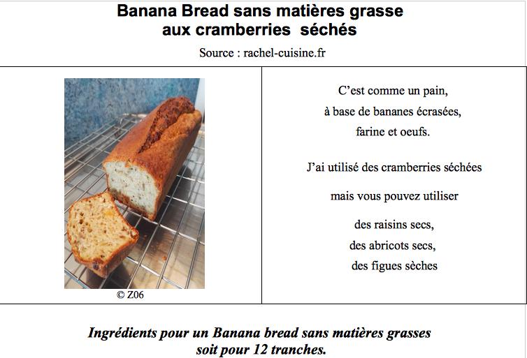 Banana Bread sans matières grasse  aux cramberries  séchés  Captu242