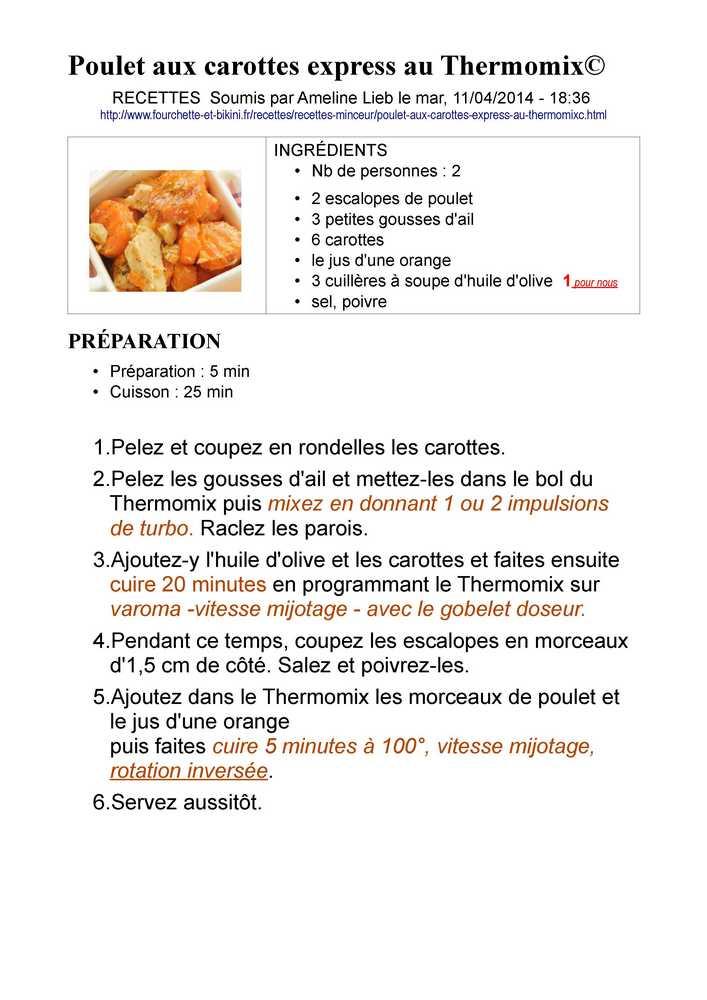 THERMOMIX Poulet Aux Carottes Express Poulet10