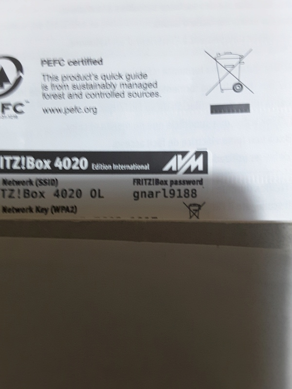 Router Fritz 4020  20180211