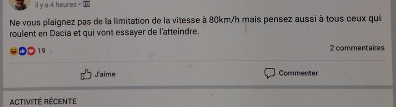Signez la pétition contre la limitation de vitesse à 80 km/h Dacia810