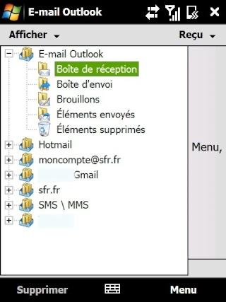 Paramétrage pour récupérer directement ses courriers Hotmail Screen11