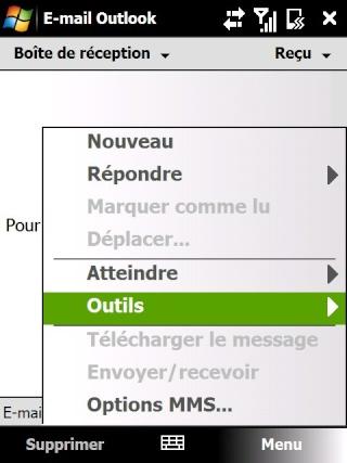 Paramétrage pour récupérer directement ses courriers Hotmail Screen13