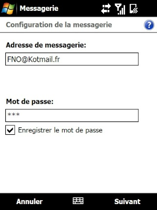 Paramétrage pour récupérer directement ses courriers Hotmail Screen16