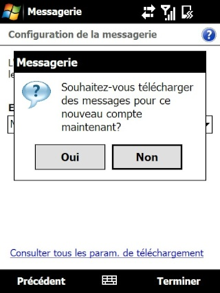 Paramétrage pour récupérer directement ses courriers Hotmail Screen25