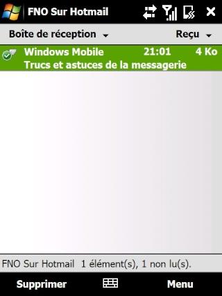 Paramétrage pour récupérer directement ses courriers Hotmail Screen26