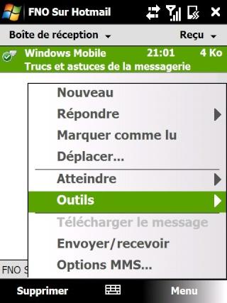Paramétrage pour récupérer directement ses courriers Hotmail Screen27