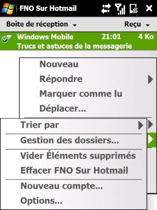 Paramétrage pour récupérer directement ses courriers Hotmail Screen28