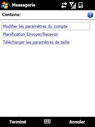 Paramétrage pour récupérer directement ses courriers Hotmail Screen30