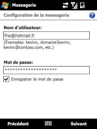Paramétrage pour récupérer directement ses courriers Hotmail Screen34