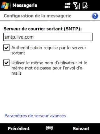 Paramétrage pour récupérer directement ses courriers Hotmail Screen35