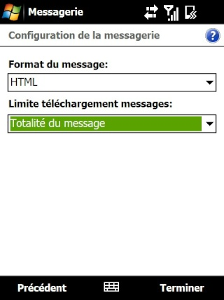 Paramétrage pour récupérer directement ses courriers Hotmail Screen37