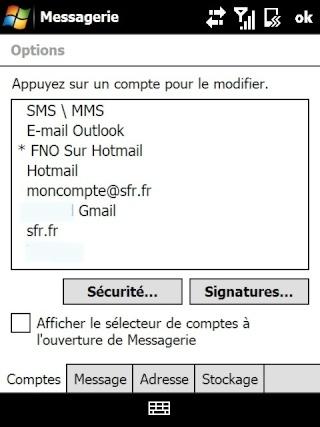 Paramétrage pour récupérer directement ses courriers Hotmail Screen39