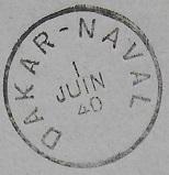 Bureau Postal Naval Temporaire N° 33 de Dakar 400610