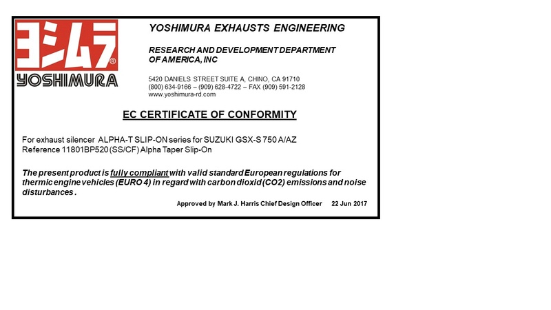 Yoshimura Alpha-T pour GSX-S 750 Homolo10