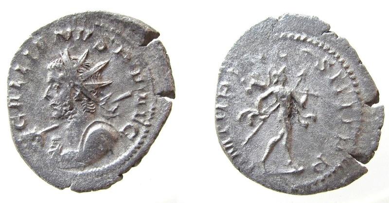 Antoniniano de Galieno. P M TR P VII COS IIII P P. Marte avanzando a dcha. Trier. Ytr10
